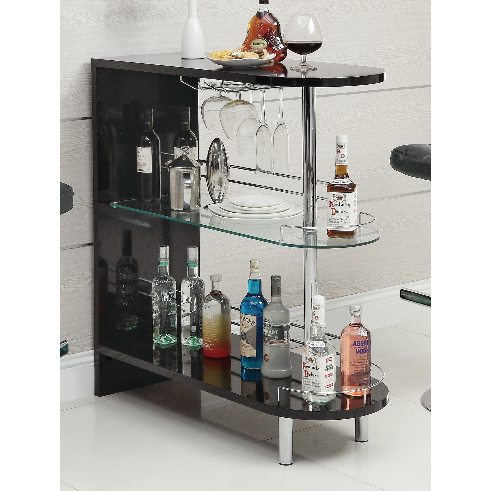 Contemporary Bar Table Black Metal Glass Shelves Wine Liquor ...