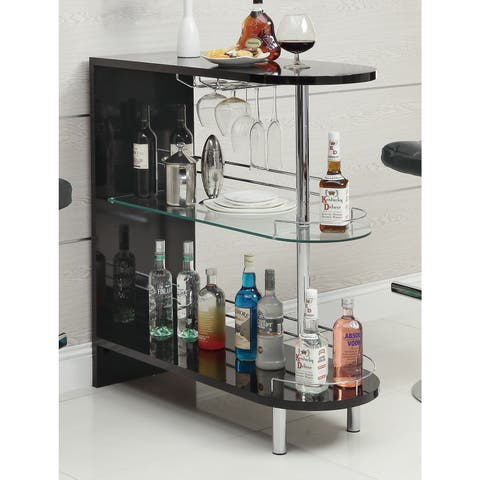 Strick & Bolton Okada Black Glass and Metal Bar Table