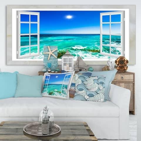 Open Window to Wavy Ocean - Extra Large Seashore Canvas Art
