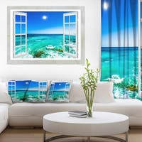 Open Window to Wavy Ocean - Extra Large Seashore Canvas Art