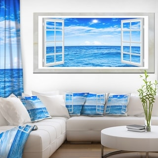 Window Open to Blue Wavy Ocean - Extra Large Seashore Canvas Art