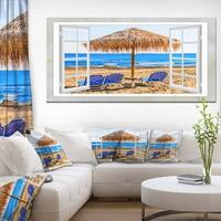 Window Open to Beach Hut with Chairs - Extra Large Seashore Canvas Art