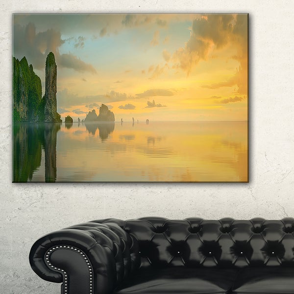 Colorful Sky and Board on Beach - Large Seascape Art Canvas Print ...