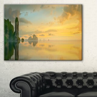 Colorful Sky and Board on Beach - Large Seascape Art Canvas Print