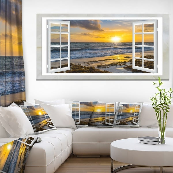'Open Window to Bright Yellow Sunset' Gallery-wrapped Modern Seascape Canvas Artwork