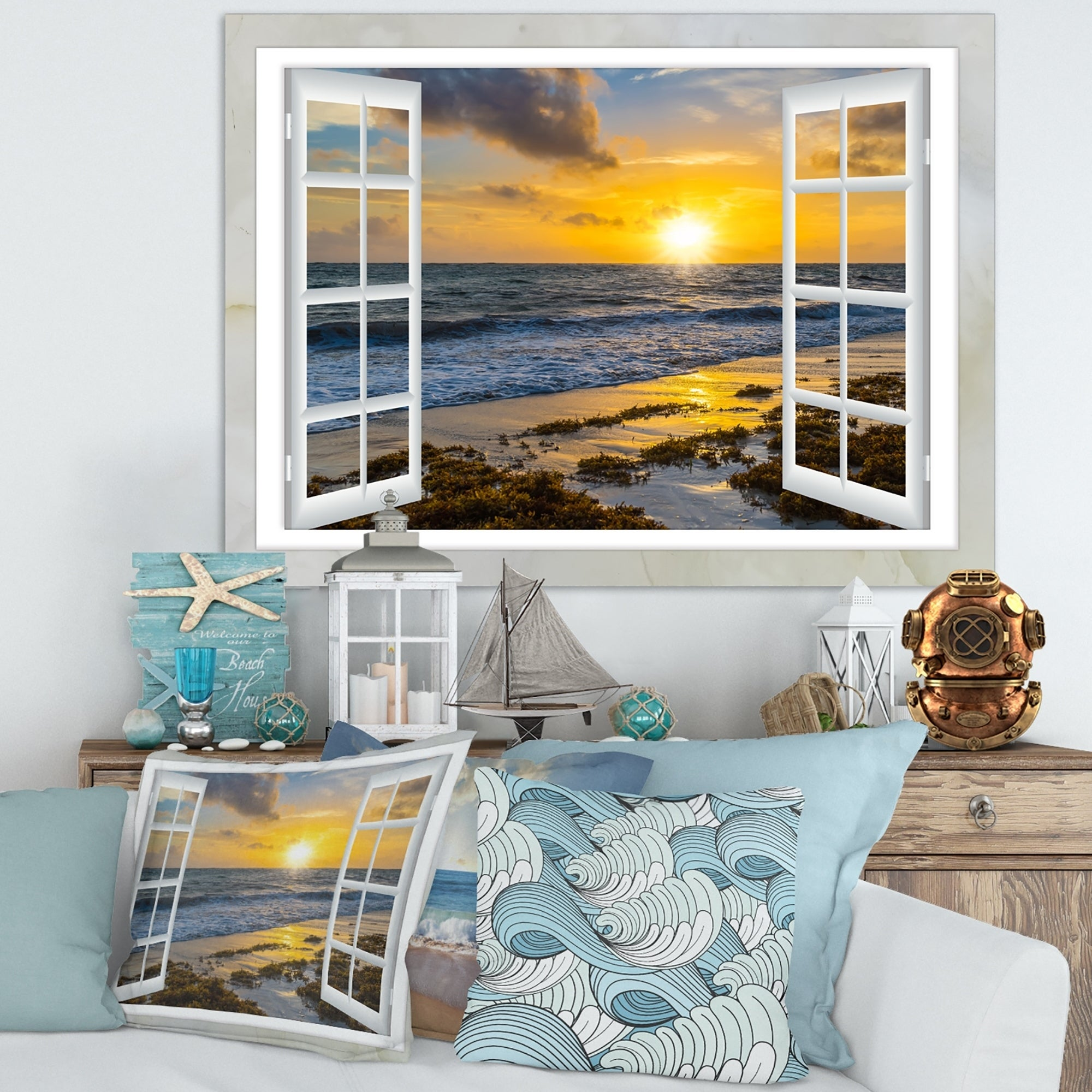 3D Window Effect on Canvas Open Bay Seascape Light Dim Picture Wall Art Print