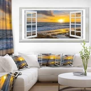 Open Window to Bright Yellow Sunset - Modern Seascape Canvas Artwork