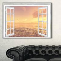 Open Window to Brown Seashore - Extra Large Seashore Canvas Art