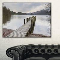 Wooden Jetty on Lake District - Wooden Sea Bridge Canvas Wall Art - Blue
