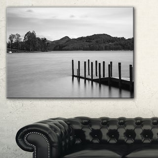 Pier over Coniston Water Panorama - Wooden Sea Bridge Canvas Wall Art
