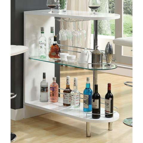 Silver Orchid Rehni White Metal and Glass Bar Table