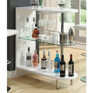 Superieur Coaster Company White Metal And Glass Bar Table