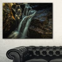 Slow Motion Waterfall in Summer - Landscape Art Canvas Print - Multi-color
