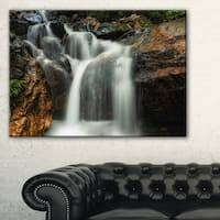Slow Motion Waterfall on Rocks - Landscape Art Canvas Print - Multi-color