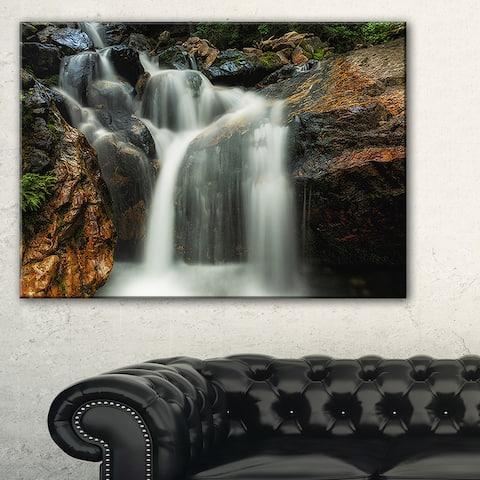 Slow Motion Waterfall on Rocks - Landscape Art Canvas Print - Multi-color