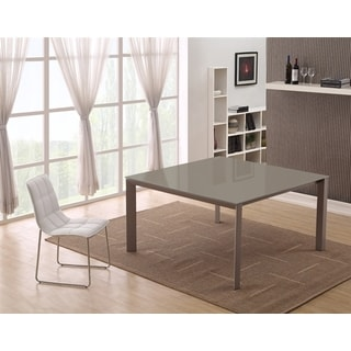 Casabianca Home NAPLES Collection Taupe Glass Dining Table