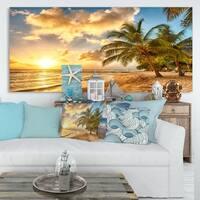 Gorgeous Beach of Island Barbados - Modern Seascape Canvas Artwork