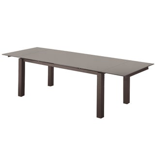 Casabianca Home NOVECENTO Collection Dark Grey Glass Extendable Dining Table