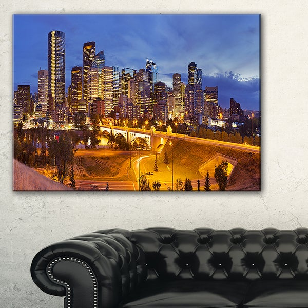 Skyline of Calgary at Night Panorama - Modern Cityscape Canvas Wall Art