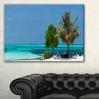 Beach with White Sand and Turquoise Water - Modern Seascape Canvas Artwork
