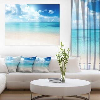 Sand of Beach in Blue Caribbean Sea - Modern Seascape Canvas Artwork