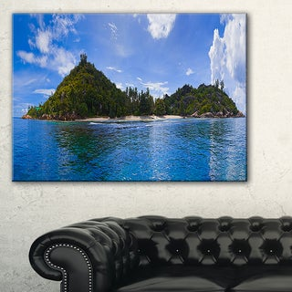 Tropical Island at Seychelles Panorama - Modern Seascape Canvas Artwork