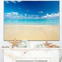 Sand of Beach in Calm Caribbean Shore - Modern Seascape Canvas Artwork