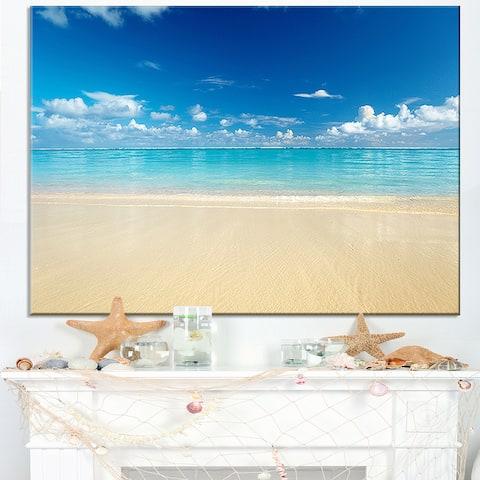 Sand of Beach in Calm Caribbean Shore - Modern Seascape Canvas Artwork Print