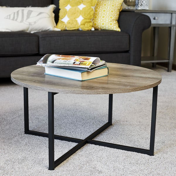 household essentials distressed ashwood round coffee table - free