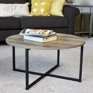 Carbon Loft Cartwright Distressed Ash Grey Finished Laminate Round Coffee Table With Black Metal Frame