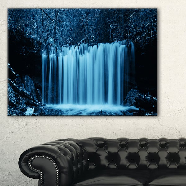 Waterfalls in Wood Black and White - Landscape Art Canvas Print