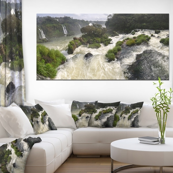 Waterfall Iguacu Falls in Brazil - Landscape Art Canvas Print - Multi-color