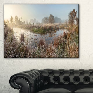 Frosty Grass Aside River Panorama - Landscape Print Wall Artwork - Yellow