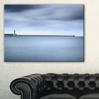 Breakwater and Soft Water under Clouds - Oversized Landscape Wall Art Print - Blue