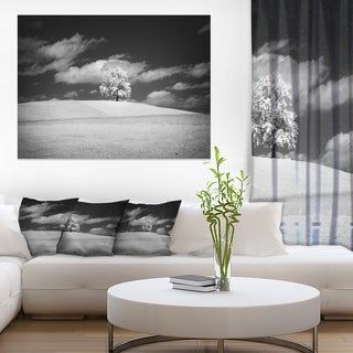 Lonely Tree on Meadow Black White - Landscape Artwork Canvas