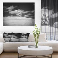 Lonely Tree on Meadow Black White - Landscape Artwork Canvas - Red