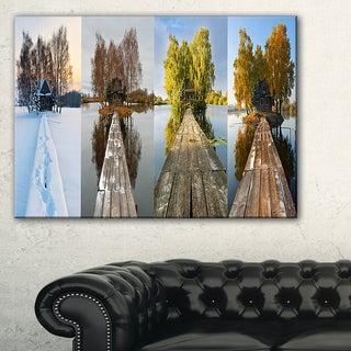 Houses on Small Island Panorama - Modern Seascape Canvas Artwork