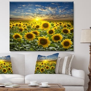 Link to Field of Blooming Sunflowers - Large Flower Canvas Wall Art - Green Similar Items in Mirrors