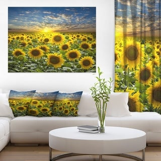 Field of Blooming Sunflowers - Large Flower Canvas Wall Art - Green (5 options available)