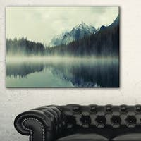 Lake Herbert in Foggy Morning - Modern Seascape Canvas Artwork - Multi-color
