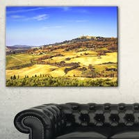 Pienza Medieval Village Italy - Oversized Landscape Wall Art Print - Blue