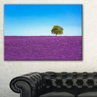 Lonely Tree in Lavender Field - Oversized Landscape Wall Art Print - Blue