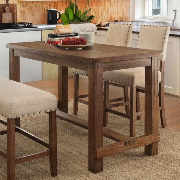 Furniture of America Tays Contemporary Brown Solid Wood Counter Table - Natural