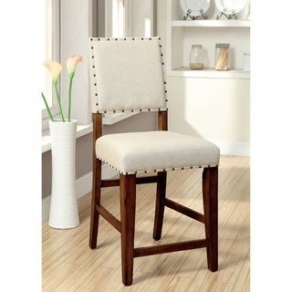 Furniture of America Telara Contemporary Natural Counter Height Chair (Set of 2)