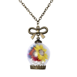 Chrysanthemum Glass Orb Pendant with Dried Flowers and Pearl Beads