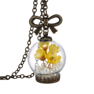 18k Gold Overlay Flower and Pearl Yellow Glass Orb Pendant
