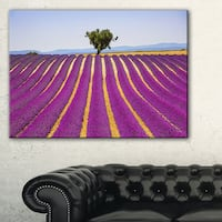 Lavender and Lonely Tree Uphill - Oversized Landscape Wall Art Print - Blue