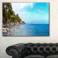 Wild Blue Beach Panorama View - Extra Large Seashore Canvas Art