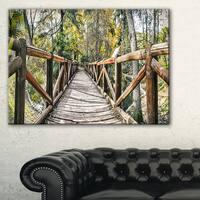 Wooden Bridge in Forest - Wooden Sea Bridge Canvas Wall Art - Green
