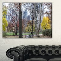 Central Park New York City in Autumn - Landscape Wall Art Canvas Print - Red